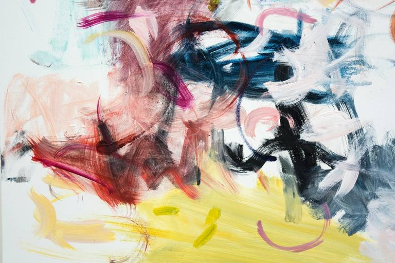 Colorful and energetic abstraction - pink, turquoise, navy blue and yellow dance together on the white ground.