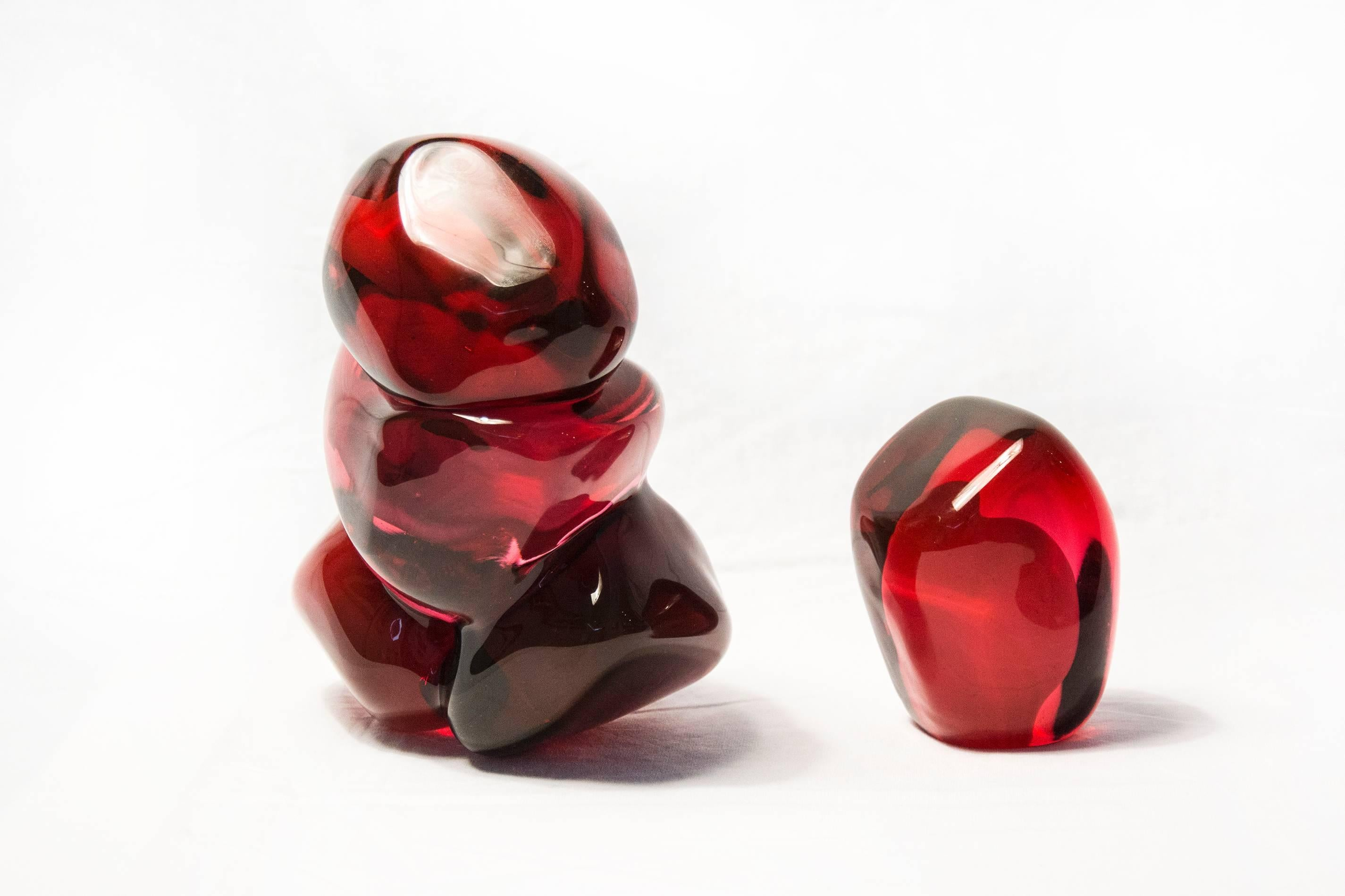 Four Pomegranate Seeds Plus One - small, bright, red, glass still life sculpture