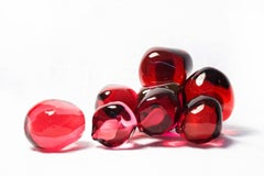 From the Earth: Red Seeds - luscious pomegranate red glass, still life sculpture
