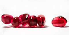 Persephone's Six Seeds - bright, red, pomegranate, glass, still life sculpture