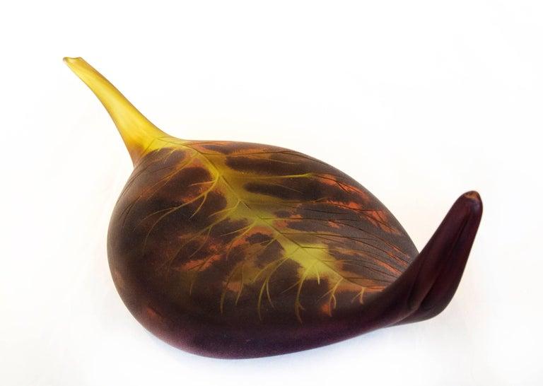 Eileen Gordon Still-Life Sculpture - Fallen Leaf, Red and Purple Glass