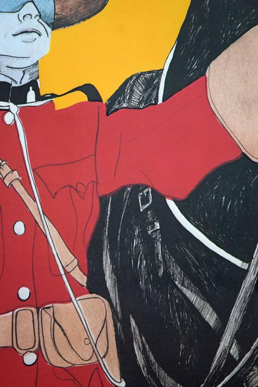 A Canadian mountie stands beside his majestic horse in this limited-edition print by Canada's famed pop artist, Charles Pachter. The title of this work refers to the French expression which implies nobility have an inherent social responsibility to
