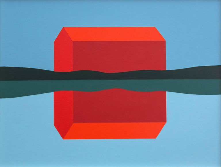 Stylized, elegant, and stripped down depiction of a red barn in a farmer's field; the work speaks to the essence of the idea. Near the shore of a lake or pond, the barn's image is reflected in the water's surface.   Pachter has created a number of