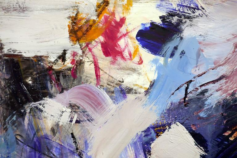 Ouvert No 11 - large, vibrant, colourful, gestural abstract, oil on canvas - Brown Abstract Painting by Scott Pattinson