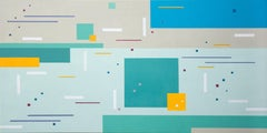 Springsong - colourful, geometric abstraction, modernist, acrylic on panel