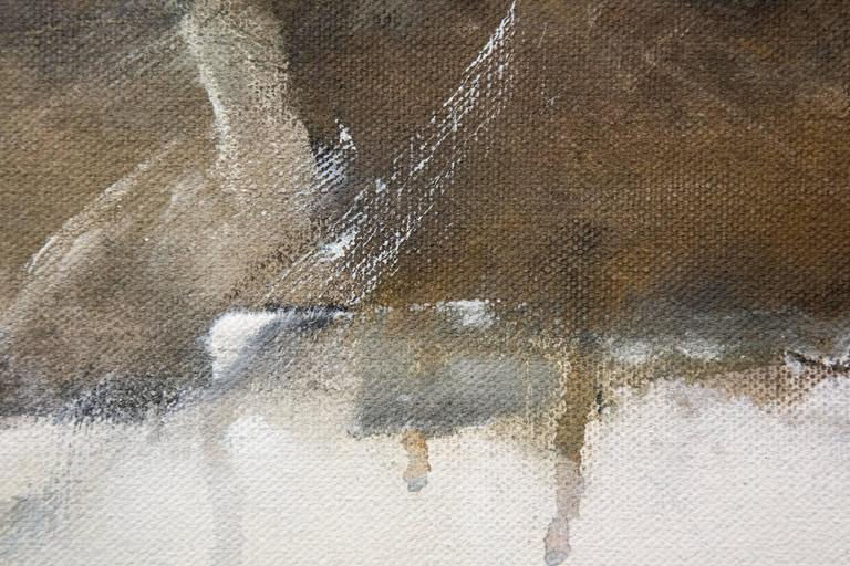 A grey-earth tinted boat shape trailed by a dark triangular shape on a atmospheric ground of cool white pierces a band of brown and black in this acrylic painting by Rick Rivet. The painting may be interpreted as a landscape with horizon line or