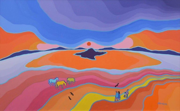Game Guide Horses - Pink Landscape Painting by Ted Harrison