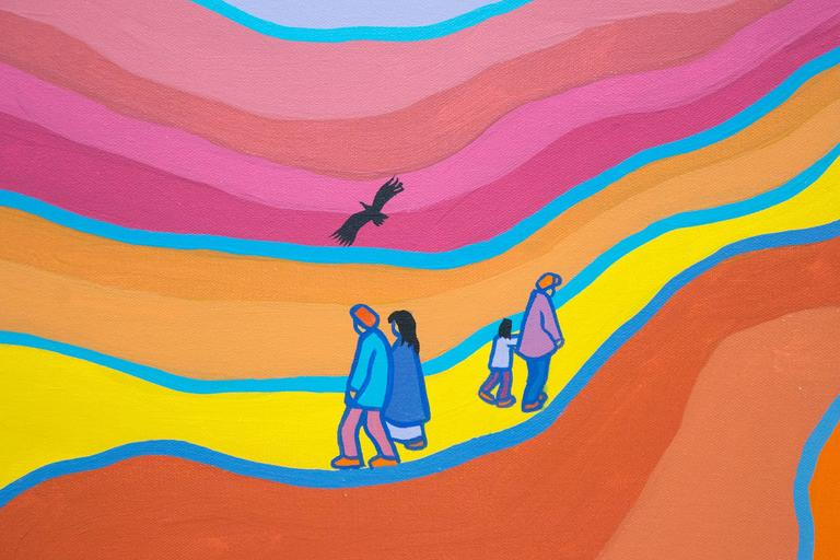 A small group of people share the land with three black birds and three horses -- blue, gold and lime green -- in a sublime Yukon landscape by Ted Harrison. The painting is articulated in the artist's brilliant use of color -- tangerine orange,