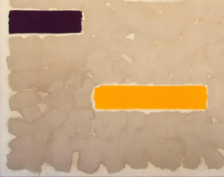Curated horizontal bars of blue, maroon, cherry red, pink, lemon yellow, burnt orange and green communicate on a soaked sand colored ground of this diptych by Milly Ristvedt. The rhythm of the spaces between the short lengths of color creates a