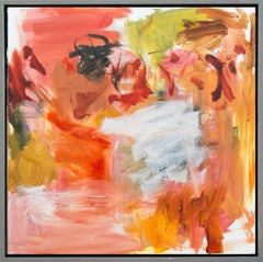 Kairoi No 35 - vibrant, red, orange, yellow, gestural abstract, oil on canvas