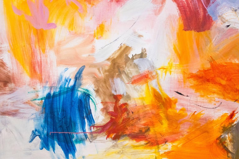 A passage of cerise and fiery orange leads the eye to vigorous eddy of colorful brushed passages and scratches in this intimate oil painting by Scott Pattinson. Pattinson's title Kairoi is Greek meaning 'the times