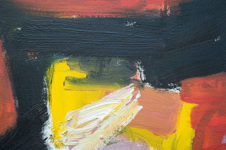 A scaffold of black pushes against passages of deep red-orange, yellow and mauve on a white ground in this intense oil painting on canvas by Scott Pattinson. The work is a narrative in compressed time and space. Pattinson's title for this series of