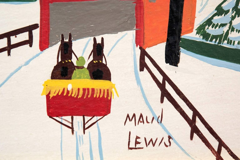 Covered Bridge - Beige Landscape Painting by Maud Lewis