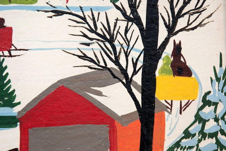 Three horse drawn sleighs pass through a red-orange covered bridge towards a village of brightly colored houses and church in this delightful winter scene. This painting is signed and framed without glass.  Referred to as folk art, Maud Lewis's