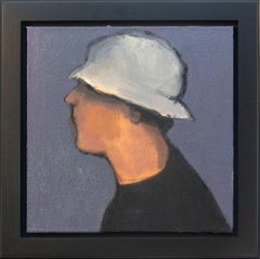 Man with Hat - small blue, white, male portrait figurative still life oil