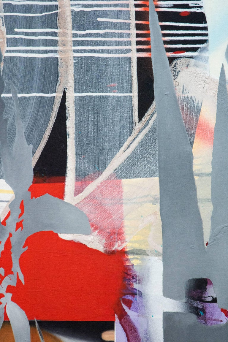 Herbarium - Botanicals & shapes in crimson, silver, gold, pink and lime green - Abstract Painting by Fiona Ackerman