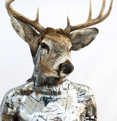 Dawning of a New Day (L'aube du Jour) - Deer head, stainless, interior sculpture