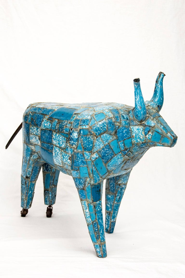 Big Blue Bull - Sculpture by Susan Valyi