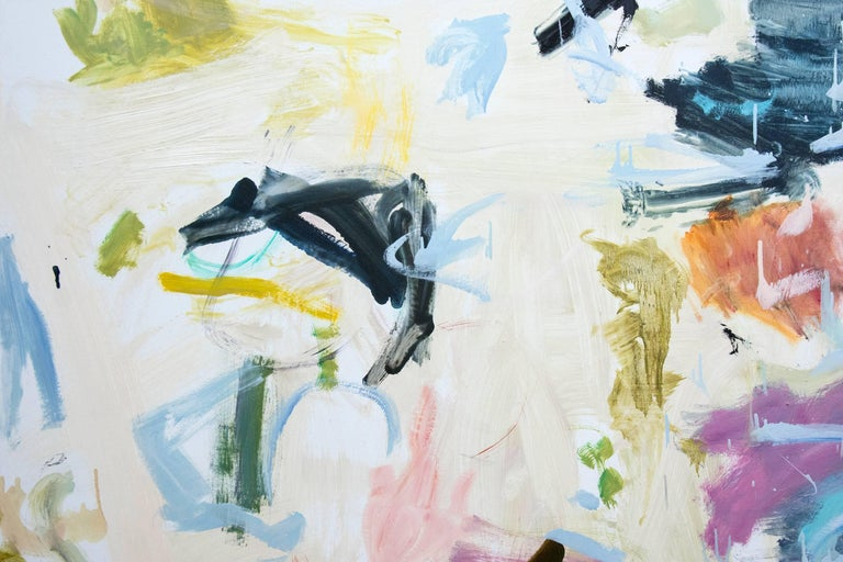 Large scale horizontal painting, with unusual color juxtapositions of blue, purple, yellow and cream colors.  The white space allows the color forms to float, and create the illusion of movement.   This work is accompanied by the recent book