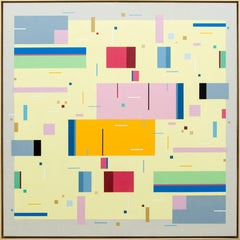 All That Jazz 5.2 - bright, geometric abstraction, modernist acrylic on board