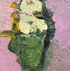 Pink With Sage Green - Small Still Life Bouquet Painting