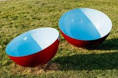 Singing Bowl Cerulean Sky Medium, Outdoor Stainless Steel Sculpture in Blue
