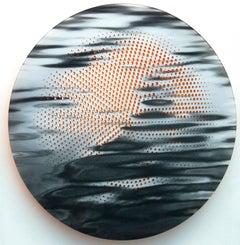 Ripple - reflective tondo in black, white and brilliant orange