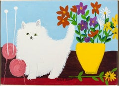 White Cat With Flowers and Yarn