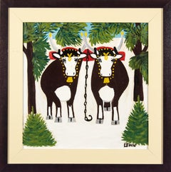 Two Oxen in Winter With Three Legs