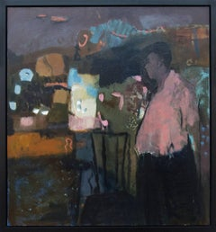 Man With Pink Shirt - large abstracted male portrait figurative still life oil