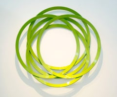 Erratic Colour Granny Smith - geometric abstract, circles, steel, wall sculpture