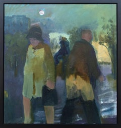 Promenade I - Large, green, blue, yellow, man and woman, figurative, oil