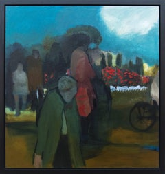 Promenade II - Large, green, blue, red, man and woman, figurative, oil