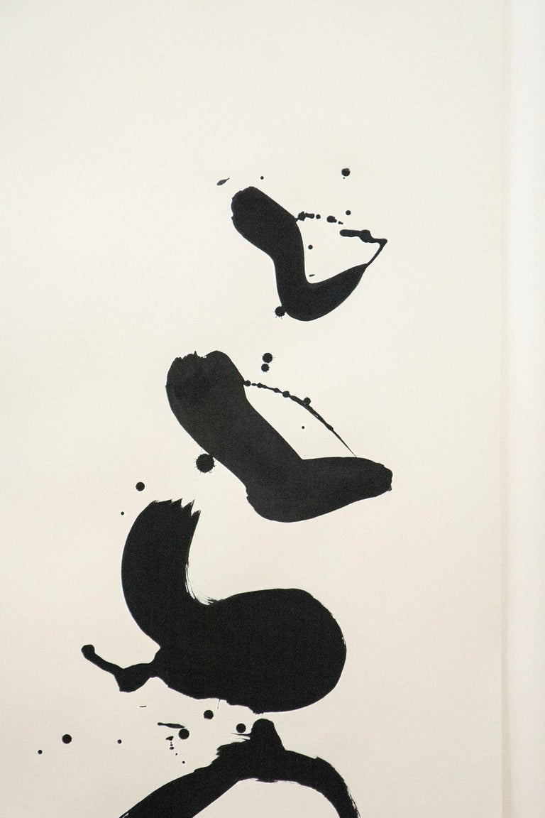 Black and White Gesture - Beige Abstract Drawing by Lynne Fernie