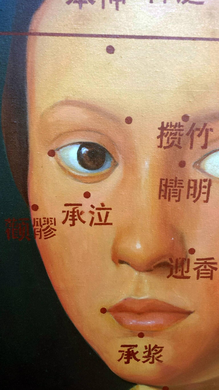 Fille Avec le Livre - classical baroque portrait, chinese characters, oil paint - Painting by Nie Jian Bing