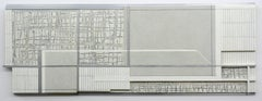 Interweave - White, grey and silver abstract three dimensional wall painting