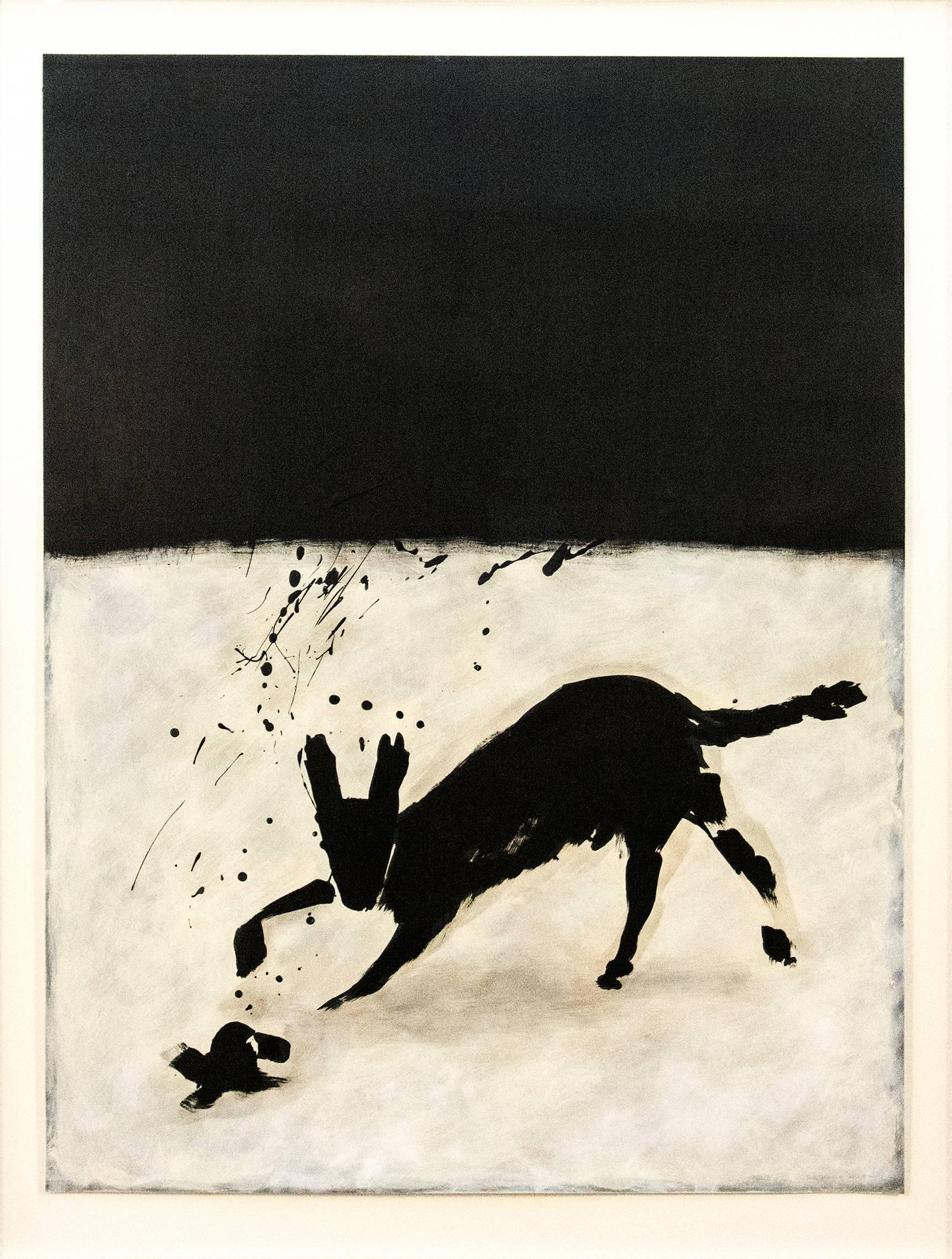 Coyote - black & white, minimalist, figurative abstract, ink, latex on paper