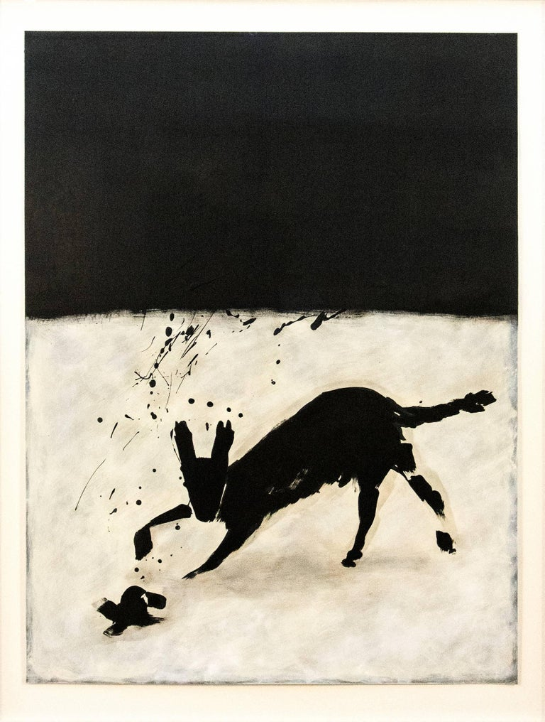 Below an inky black sky, a fox rendered in rapid black gestural strokes leaps towards something on the bright ground. Fernie is a masterful story-teller and here using simplified shapes evokes folklore around an animal known for its cunning. In the