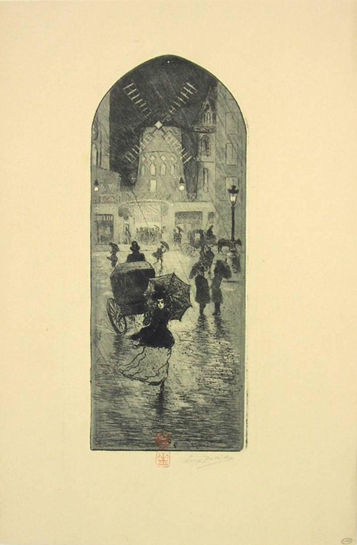 Eugène Delâtre Figurative Print - A Monmartre (Moulin Rouge).