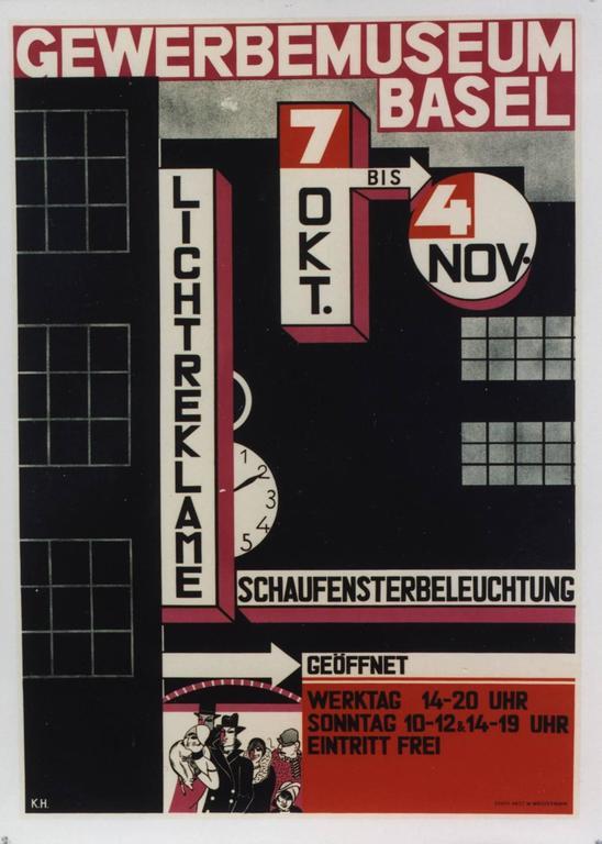 Charles [Karl] Hidenlang Abstract Print - Gewerbemuseum, Basel/Licht Reklame. 1928.