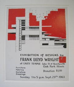 Exhibition of Designs by Frank Lloyd Wright at Unity Temple. Lake St. Kenilworth