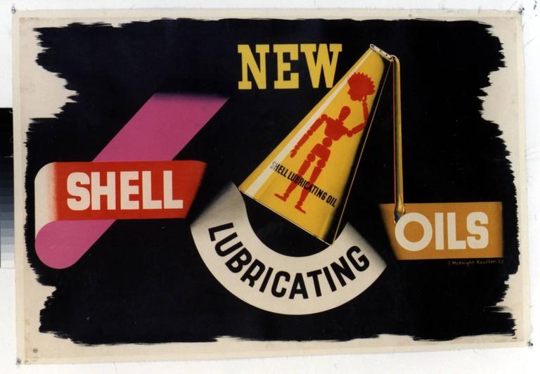Edward McKnight Kauffer Abstract Print - NEW / SHELL LUBRICATING OILS.