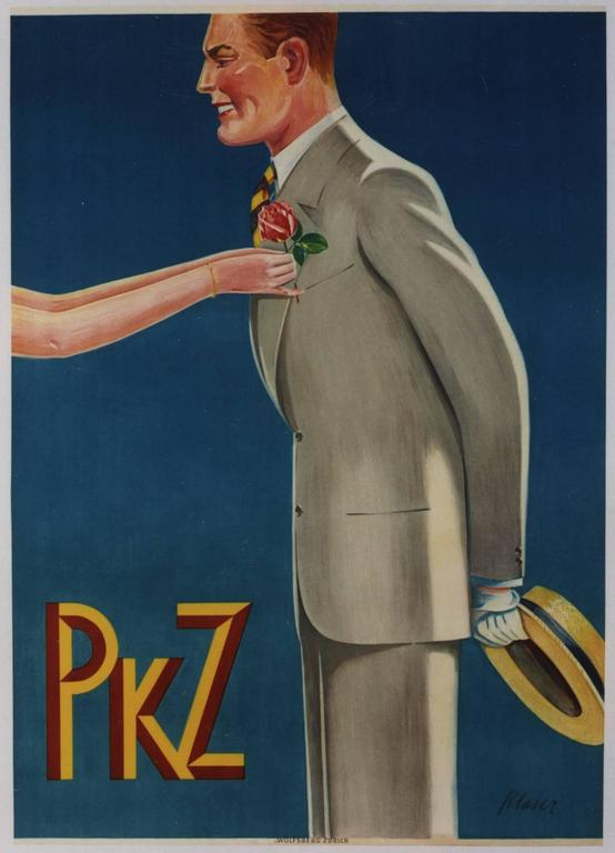 Blazer, Hermann Figurative Print - PKZ [Hand putting Rose into lapel of Suit].