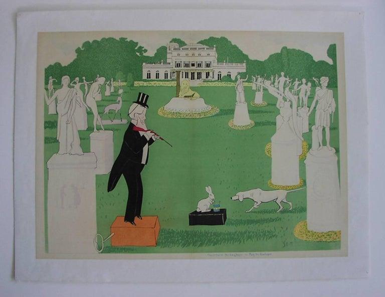 George Goursat Figurative Print - Ouverture de la Chasse ua Bois de Boulogne