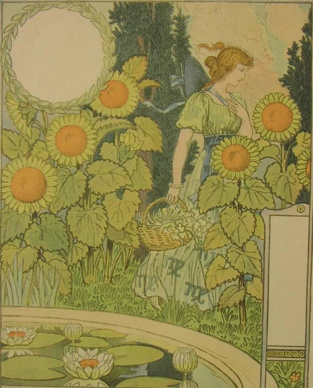 Belle Jardinaire - Brown Figurative Print by Eugene Grasset