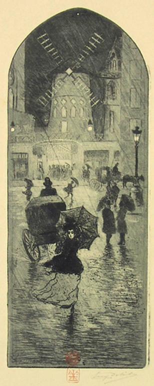 A Monmartre (Moulin Rouge). - Print by Eugène Delâtre