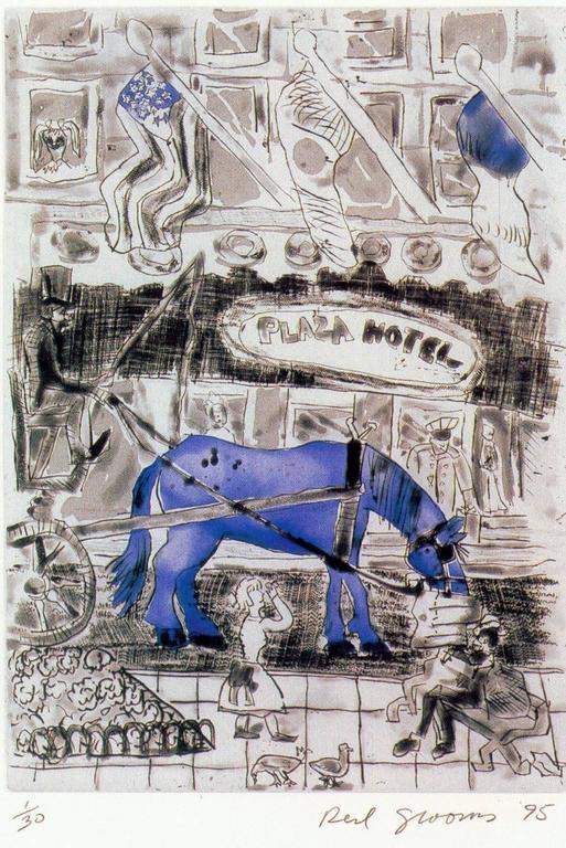 Red Grooms Figurative Print - New York Sweet: Piebald Blue
