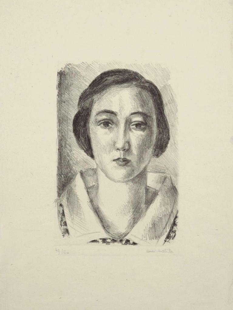 Henri Matisse Portrait Print - Jeune fille en robe fleurie au col d'organdi