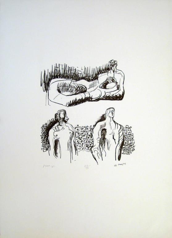 Henry Moore Figurative Print - Reclining Figure and Torsos