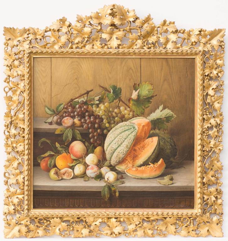 Giovanni estienne still life of fruit on a shelf for Shelf life of paint